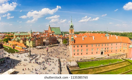 Warsaw old town, view of the castle square and the Royal Castle. Warsaw from the viewpoint.
