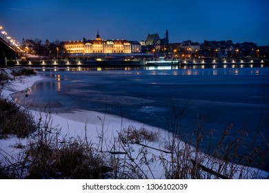 Warsaw old town viewed in Winter across the Vistula