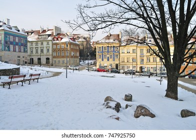 Warsaw old town in winter - Poland