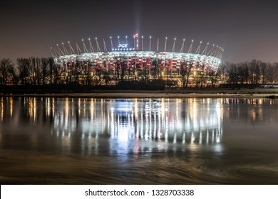 Warsaw / Poland - 02 14 2019: The National Stadium in Warsaw at night