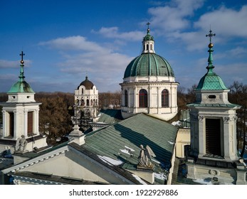 Warsaw, Poland 02 20 2021: St. Anne's Church at the Museum of King Jan III's Palace at Wilanów - aerial photography from a drone