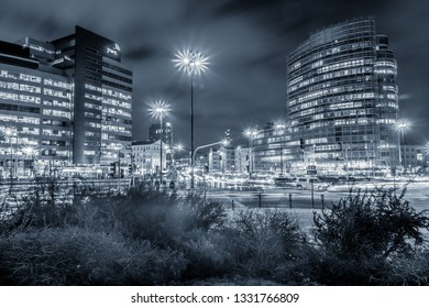 Warsaw / Poland - 02 21 2019: Armia Ludowa Avenue and Waryński Street in Warsaw at night
