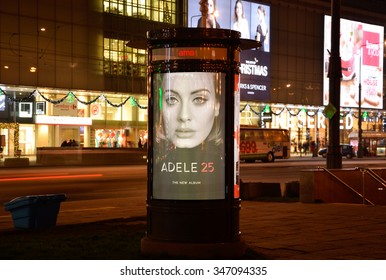 WARSAW, POLAND 03 DECEMBER 2015 -  Pillar Ams in Poster Adele 25 - We belong to the Agora Group and operate in the field of classical and digital OOH ( CityINFOtv )