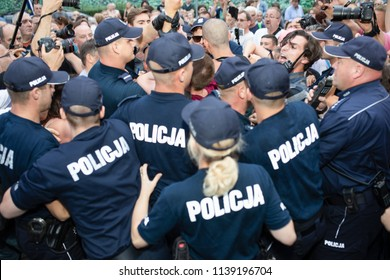 Warsaw / Poland - 07.20.2018: Protest against violation the constitutional law in Poland, by the conservative party and government. Defending the division of powers and the highest court.