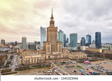 Warsaw, Poland - 08 December 2018: Aerial view Palace of Culture and Science and downtown business skyscrapers, city center, cityscape of the metropolis
