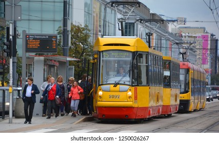 WARSAW POLAND 09 12 17: Trams in Warsaw tram system serving the city population. With 27 lines forming a part of the city's integrated public transport system by the Warsaw Transport Authority.