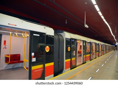 WARSAW POLAND 09 18 17: Warsaw Metro is a rapid transit system serving the city of Warsaw. It currently consists of two lines, the north–south Line M1 and the initial segment of the east-west Line M2
