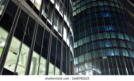Warsaw, Poland. 09 March 2020. Mennica Legacy Tower - an A + class office investment implemented jointly by Golub GetHouse and Mennica Polska. Night view.