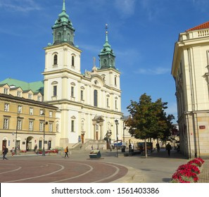 Warsaw, Poland - 09.11.2019: area of Copernicus square opposite the building from the cathedral with crosses in the early morning