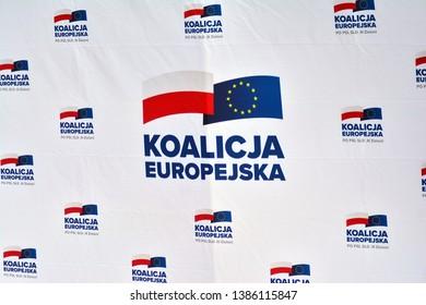 Warsaw, Poland. 1 May 2019. Sign European coalition.