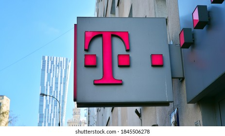Warsaw, Poland. 1 November 2020. Sign T-Mobile. Company signboard T-Mobile.