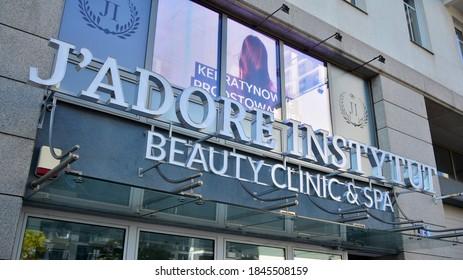Warsaw, Poland. 1 November 2020. Sign Jadore Instytut. Company signboard Jadore Instytut.