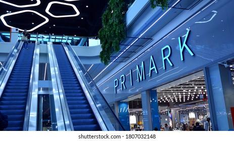 Warsaw, Poland. 1 September 2020. Sign Primark. Company signboard Primark.