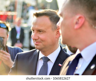 Warsaw, Poland. 10 april 2018. President of the Republic of Poland Andrzej Duda. The ceremony of unveiling the monument the victims of a plane crash near Smolensk.
