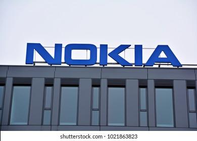 Warsaw, Poland. 10 February 2018.  Company signboard  Nokia.