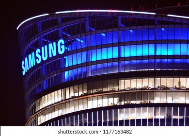 Warsaw, Poland. 10 September 2018. Sign Samsung . Company signboard Samsung.