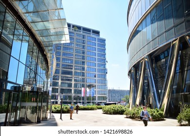 Warsaw, Poland. 11 June 2019. Warsaw Spire. Modern office building.Warsaw Spire is a perfect meeting spot for business and leisure. A modern landmark and a powerful symbol of Warsaw's energy.