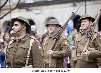 Warsaw, Poland - 11 November, 2015. The parade of military  reenactors groups.