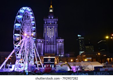 Warsaw, Poland. 13 January 2018. Ferris wheel in the city center . The charity campaign of the Great Orchestra of Christmas Charity. Jurek Owsiak.