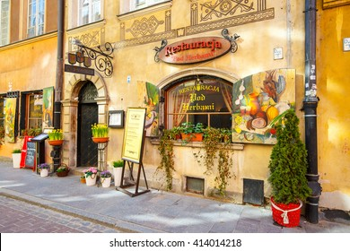 WARSAW, POLAND, 13 march 2016: Restaurant in old town in Warsaw in a sunny day. Warsaw is the capital of Poland