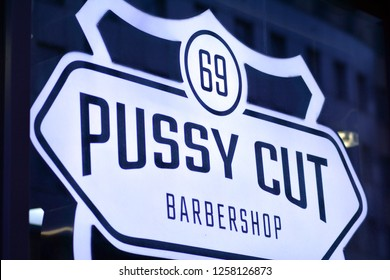 Warsaw, Poland. 14 December 2018. Sign Pussy Cut. Company signboard Pussy Cut.