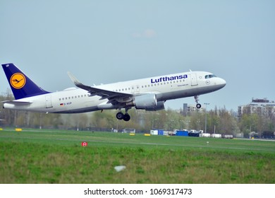 Warsaw, Poland. 15 April 2018.  Passenger airplane Airbus A320-200  Lufthansa Airlines is flying from the runway of Warsaw Chopin Airport