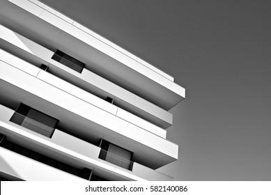 "Warsaw, Poland. 15 February 2017. ""Artystyczny Zoliborz"". Modern apartment buildings. Black and white."