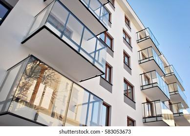 """Warsaw, Poland. 15 February 2017. """"Artystyczny Zoliborz"""". Modern apartment buildings"""