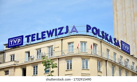 Warsaw, Poland. 15 May 2020. Sign Telewizja Polska TVP / Polish Television TVP. Company signboard TVP.