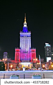 Warsaw, Poland. 16 July 2016. The Palace of Culture and Science Light Up With the Colors of the French.