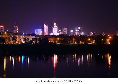 Warsaw, Poland. 16 September 2018. Warsaw city downtown night view during summer time.