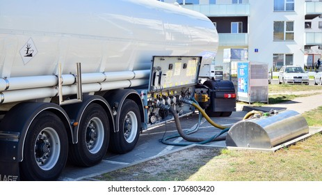 Warsaw, Poland. 17 April 2020. Fuel Tanker Truck at the Gas Station Shell. Refuelling a gas-station Shell