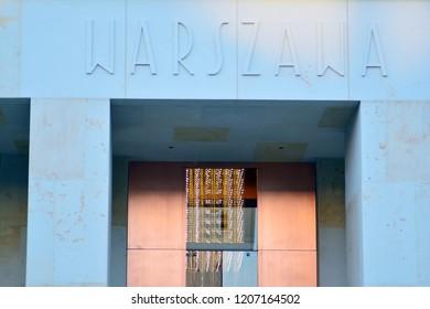 Warsaw, Poland. 17 October 2018. Sign Warszawa. Company signboard Warszawa Hotel
