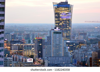 Warsaw, Poland . 17 September 2018. Aerial view of Warsaw. Top of high-rise office building Warsaw Spire.