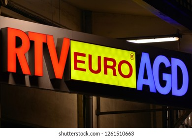 Warsaw, Poland. 18 December 2018. Sign RTV Euro AGD. Company signboard RTV Euro AGD.