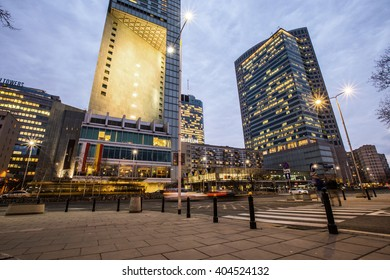 WARSAW, POLAND - 18 MARCH 2016: Warsaw business center night