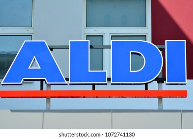 Warsaw, Poland. 19 April 2018. Sign Aldi. Company signboard  Aldi.