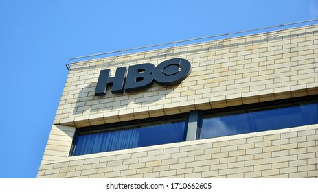 Warsaw, Poland. 20 April 2020. Sign HBO. Company signboard HBO