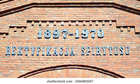 Warsaw, Poland. 20 April 2021. Sign Rektyfikacjia spirytusu -Spirit rectification .