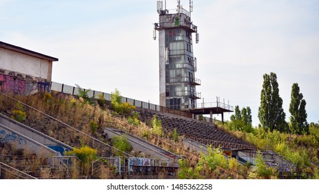 Warsaw, Poland. 20 August 2019. Abandoned and neglected RKS Skra Stadium. The football and athletic stadium of the Skra Warszawa club is located in the Ochota district of Warsaw.