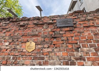 WARSAW, POLAND - 2018: Wall of the Warsaw Ghetto, Poland