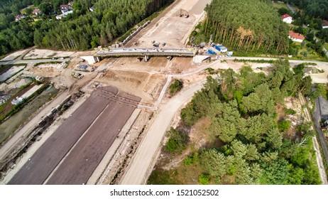 Warsaw, Poland, 2019.  South Warsaw Bypass road in Wawer district. Poludniowa Obwodnica Warszawy - POW. Fragment C. Aerial photo taken over Patriotow in Miedzeszyn in Warsaw suburbs.