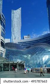 WARSAW, POLAND, 20,JULY 2016 ; The Zlote Tarasy shopping center .Modern building in Warsaw.