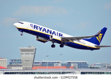 Warsaw, Poland. 21 July 2018. Airplane SP-RSA - Boeing 737-8AS - Ryanair Sun taking off from the Warsaw Chopin Airport.