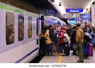 Warsaw, Poland. 22 December 2018. Passenger train at the Warszawa Centralna station
