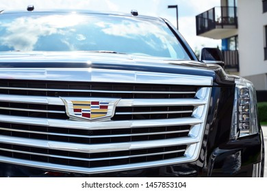 Warsaw, Poland. 22 July 2019. Motor car Cadillac Escalade at the city street. Cadillac Escalade SUV commands attention with its superior craftsmanship and iconic design.