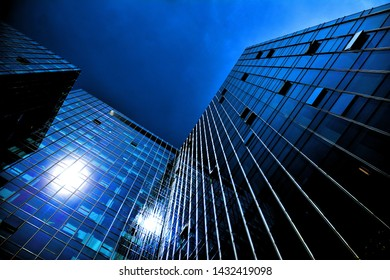 Warsaw, Poland. 22 June 2019. Gdanski Business Center is a modern office complex, which is composed of office buildings with a total leasable area of approx. 97,900 sq m. Glass silhouette of at night