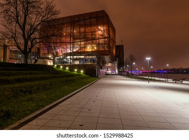 Warsaw, Poland, 22 March, 2019.  Copernicus Science Centre, Warsaw city, Poland. Night view.