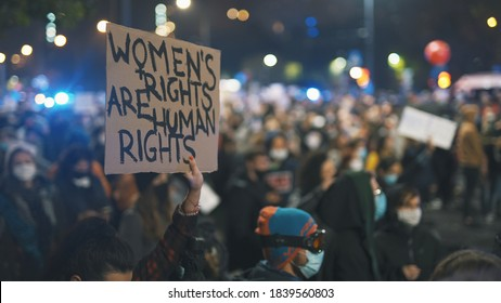 Warsaw, Poland 23.10.2020 - Protest against Poland's abortion laws.Women's rights are human rights . High quality photo