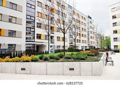"""Warsaw, Poland. 25 April  2017. """"Artystyczny Zoliborz"""". Modern apartment buildings"""